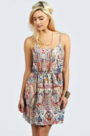 boohoo clothes summer sketch colour paisley strappy dress at boohoo woman