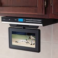 under cabinet dvd player mount the under cabinet tv with dvd player hammacher schlemmer