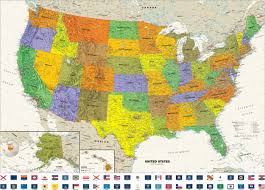 United States Map With States Labeled by Contemporary Usa Wall Map With State Flags