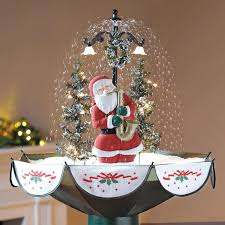 live tabletop tree with decorations lights snowing