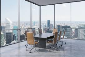 modern office conference table panoramic conference room in modern office in new york city brown