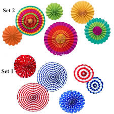 online get cheap celebration decorations for home aliexpress com 5 set hanging paper flower fans round wheel outdoor wedding party wall decoration event kindergarden celebration home decor