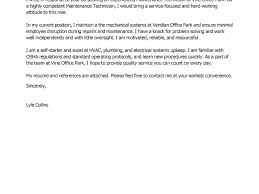 facility lead maintenance advice cover letter for maintenance