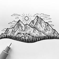 drawn mountain sketch easy pencil and in color drawn mountain
