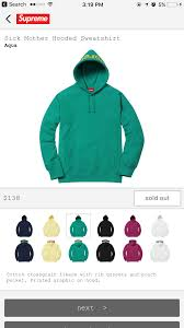supreme sick mother hoodie below retail