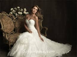 Wedding Dress With Train Fitted A Line Sweetheart Layer Organza Ruffle Wedding Dress With Train