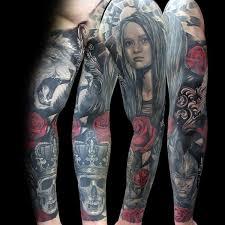 rose lion sleeve tattoo 2 golfian com