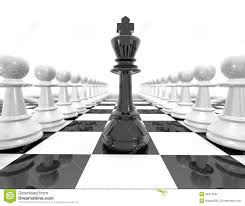chess set strategy black and white illustration with pawns stock