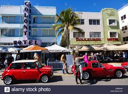 miami beach florida ocean drive art deco weekend festival street