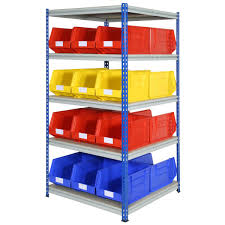 Storage Bin Shelves by Heavy Duty Rivet Racking With 12 Picking Blue Red And Yellow