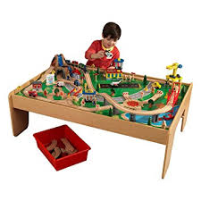 wooden train set table kidkraft 17850 waterfall mountain train table set 120 colorful