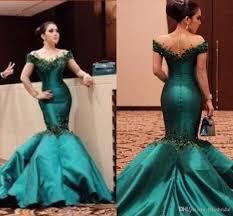 emerald green mermaid prom dresses illusion neckline appliques