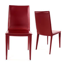 Red Leather Dining Chair Dining Chairs Burnt Red Leather Bottega Dining Side Chairs Decor