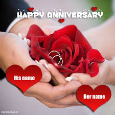 Wedding Wishes Online Editing Write Name On Happy Anniversary Greeting Card Pics