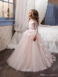 2017 new princess pink long sleeves ball gown flower