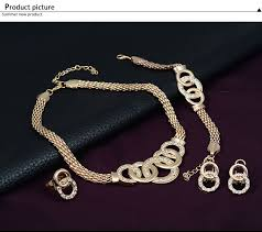 bracelet with ring set images European crystal handcuffs necklace earring bracelet ring set jpg