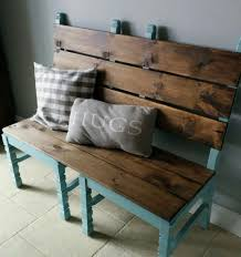 easy bench made from two old chairs awesome for a front porch or