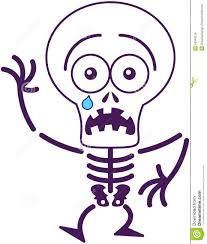 cute halloween skeleton feeling scared stock vector image 45349216