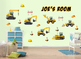 100 personalised wall stickers sticker name picture more personalised construction digger jcb style childrens nursery wall