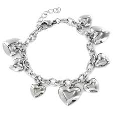 heart link charm bracelet images Stainless steel heart charm bracelet free shipping on orders jpg