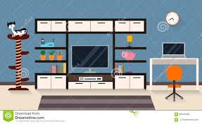 interior of a living room with furniture tv and a cute cat stock