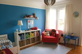 colorful kids bedroom idea blue wall paint with curtains for boys