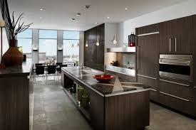 loft kitchen design ideas with red cabinet and refrigerator