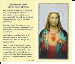 consecration to the sacred of jesus prayer card