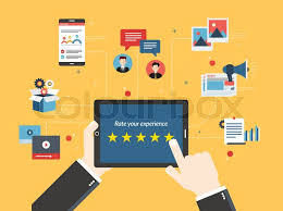 graphic design online qualification rating system on tablet screen with stars feedback and