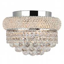 Chrome Flush Mount Ceiling Light by Collection 4 Light Chrome Finish And Clear Crystal Flush Mount
