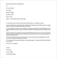 brilliant ideas of sample recommendation letter for college