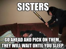 Sister Memes Funny - sisters go ahead and pick on them they will wait until you