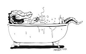 sketch please alligator drinking tea