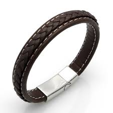 bangle bracelet man stainless steel images Top quality genuine leather bracelet men stainless steel leather jpg