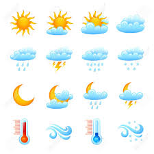 Weather Map Symbols Weather Forecast Website Decorative Icon Set With Sun Clouds