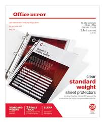 Does Office Depot Make Business Cards Office Depot Brand Standard Weight Sheet Protectors 8 12 X 11
