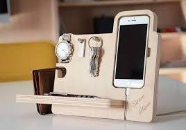 the handmade desk organizer boasts integrated stand iphone