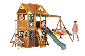 big backyard premium collection meadowbrook wood swing set toys