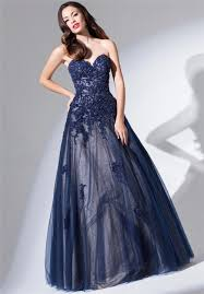 gown strapless sweetheart long navy blue tulle lace beaded prom dress