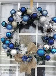 blue winter ornament wreath crafty morning