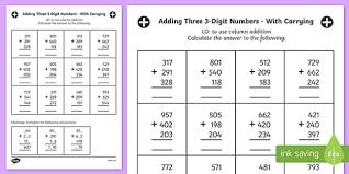 adding hundreds to a 3 digit number worksheet year 3 adding