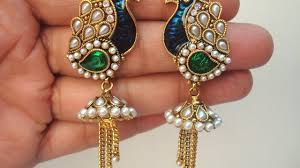 kerala style jhumka earrings antique jhumkas peacock style collections traditional gold