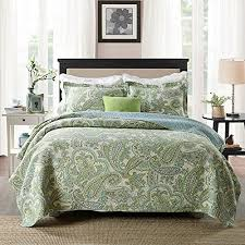 Bedding Sets Luxury Brandream Green Paisley Printed Bedding Set Luxury Oversized