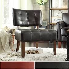 Faux Leather Accent Chair Faux Leather Armless Accent Chair By Inspire Q Classic
