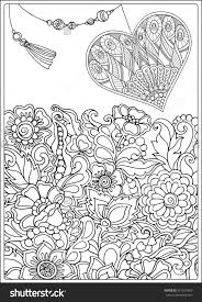 coloring pages decorative love heart with flowers valentines day
