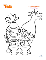 trolls coloring sheets and printable activity sheets and a movie