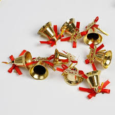 9pcs golden tree hanging jingle bells decoration