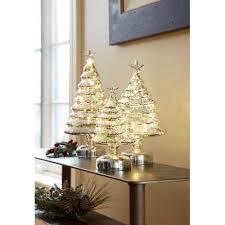 pre lit mercury glass trees set of 3 silver 8 h 12 75 h