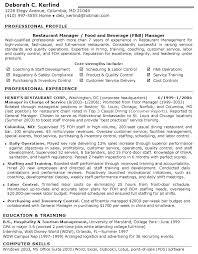 restaurant manager resume sample resume templates