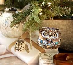 mini felt owl ornament gray pottery barn